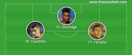 Coutinho Firmino Sturridge 4-3-3
