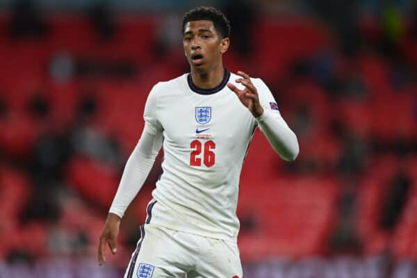 LONDON, ENGLAND - JUNE 22: Jude Bellingham of England looks on during the UEFA Euro 2020 Championship Group D match between Czech Republic and England at Wembley Stadium on June 22, 2021 in London, England. (Photo by Shaun Botterill - UEFA)