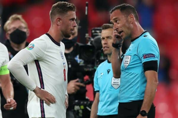 LONDON, ENGLAND - JUNE 22: Jordan Henderson of England interacts with Match Referee, Artur Dias after the UEFA Euro 2020 Championship Group D match between Czech Republic and England at Wembley Stadium on June 22, 2021 in London, England. (Photo by Alex Morton - UEFA/UEFA via Getty Images)