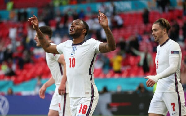 LONDON, ENGLAND - JUNE 22: Raheem Sterling of England celebrates after scoring their team's first goal during the UEFA Euro 2020 Championship Group D match between Czech Republic and England at Wembley Stadium on June 22, 2021 in London, England. (Photo by Alex Morton - UEFA)