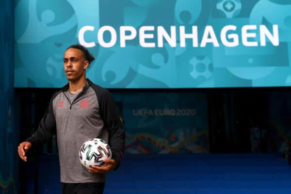 COPENHAGEN, DENMARK - JUNE 11: Yussuf Poulsen of Denmark makes his way towards the pitch during the Denmark Training Session ahead of the UEFA Euro 2020 Championship Group B match between Denmark and Finland at Parken Stadium on June 11, 2021 in Copenhagen, Denmark. (Photo by Martin Rose - UEFA/UEFA via Getty Images)