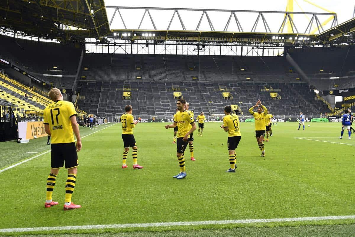 Dortmund players celebrate Erling Haaland's opener (Martin Meissner)