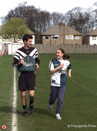 A luck supporter who won a competition trains with Liverpool's Ian Rush at the club's Melwood Training Ground. (Pic by David Rawcliffe/Propaganda).