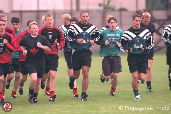 Liverpool players during a training session at the club's Melwood Training Ground. Sammy Lee, xxxx, Stan Collymore, xxxx, Jamie Redknapp. (Pic by David Rawcliffe/Propaganda)