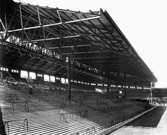 Retro Pic: The Spion Kop, Main Stand under construction at Anfield Liverpool FC. 25th August 1928 ((PA / Alamy Media))