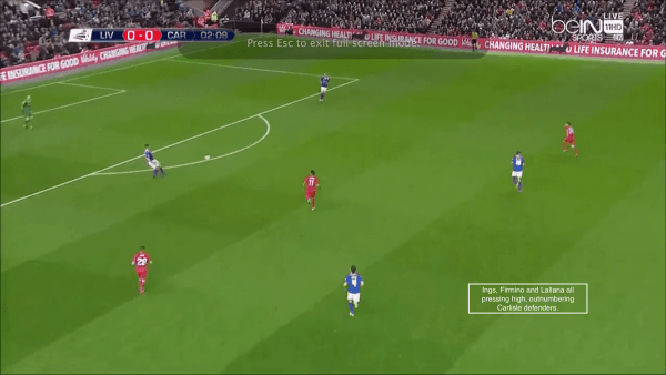 Ings, Firmino and Lallana all pressing high, outnumbering Carlisle defenders.