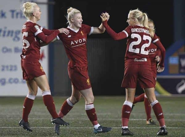Bethany England of Liverpool Ladies celebrates scoring her second goal of the game with team mates Ashley Hodson (left) and Alex Greenwood (22) during the Liverpool Ladies v Bristol City Women WSL game at Select Security Stadium on January 27, 2018 in Widnes, England. (Photo by Nick Taylor/Liverpool FC/Liverpool FC via Getty Images)