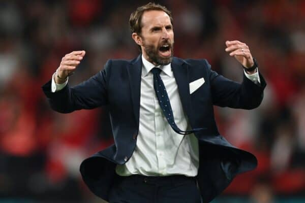 LONDON, ENGLAND - JULY 07: Gareth Southgate, Head Coach of England reacts during the UEFA Euro 2020 Championship Semi-final match between England and Denmark at Wembley Stadium on July 07, 2021 in London, England. (Photo by Shaun Botterill - UEFA)