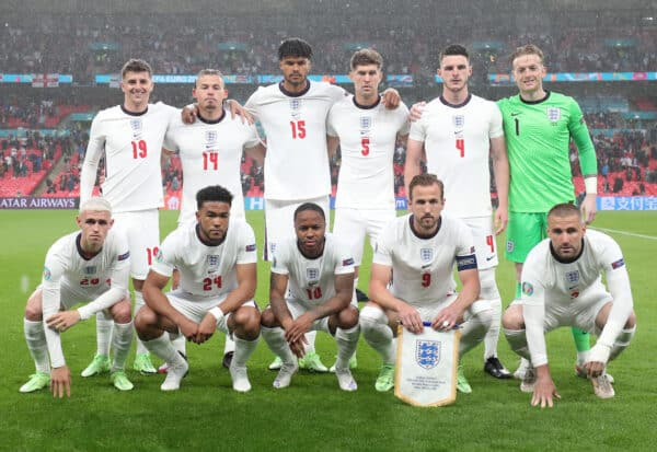 LONDON, ENGLAND - JUNE 18: Players of England pose for a team photograph prior to the UEFA Euro 2020 Championship Group D match between England and Scotland at Wembley Stadium on June 18, 2021 in London, England. (Photo by Alex Morton - UEFA/UEFA via Getty Images)
