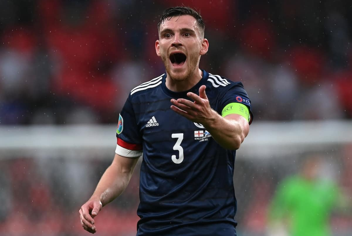 LONDON, ENGLAND - JUNE 18: Andy Robertson during the UEFA Euro 2020 Championship Group D match between England and Scotland at Wembley Stadium on June 18, 2021 in London, England. (Photo by Shaun Botterill - UEFA/UEFA via Getty Images)