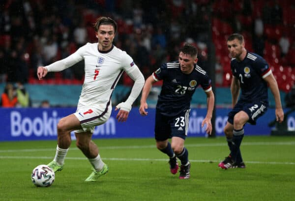 LONDON, ENGLAND - JUNE 18: Jack Grealish of England runs with the ball whilst under pressure from Billy Gilmour of Scotland during the UEFA Euro 2020 Championship Group D match between England and Scotland at Wembley Stadium on June 18, 2021 in London, England. (Photo by Alex Morton - UEFA/UEFA via Getty Images)