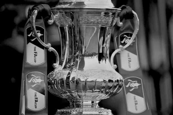 LIVERPOOL, ENGLAND - Sunday, March 8, 2015: The FA Cup trophy on display before the FA Cup 6th Round Quarter-Final match between Liverpool and Blackburn Rovers at Anfield. (Pic by David Rawcliffe/Propaganda)