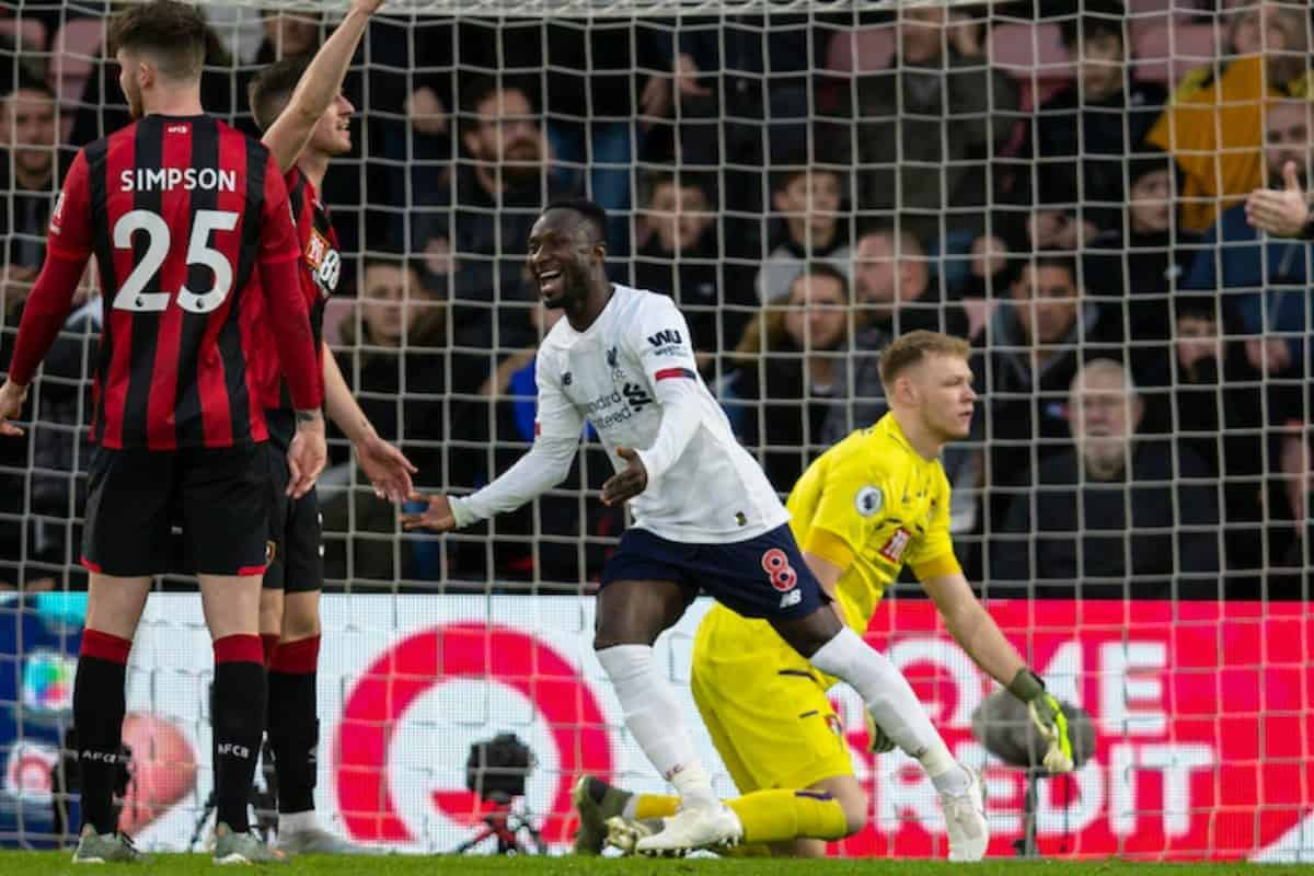 BOURNEMOUTH, ENGLAND - Saturday, December 7, 2019: Liverpool's Naby Keita celebrates scoring the second goal during the FA Premier League match between AFC Bournemouth and Liverpool FC at the Vitality Stadium. (Pic by David Rawcliffe/Propaganda)