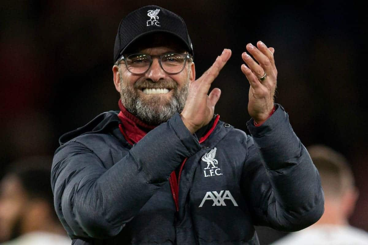 BOURNEMOUTH, ENGLAND - Saturday, December 7, 2019: Liverpool's manager Jürgen Klopp celebrates after the FA Premier League match between AFC Bournemouth and Liverpool FC at the Vitality Stadium. Liverpool won 3-0. (Pic by David Rawcliffe/Propaganda)