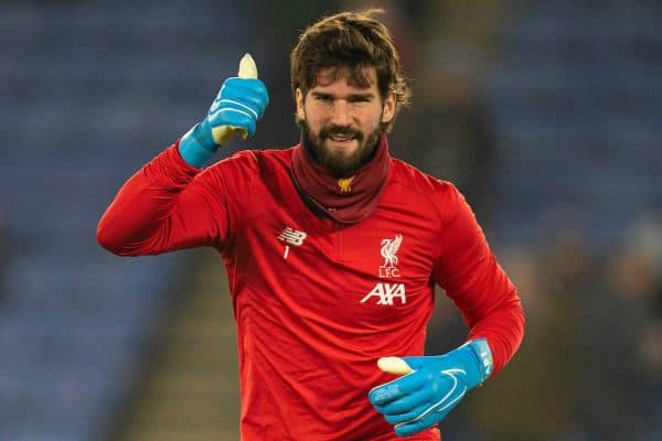 LEICESTER, ENGLAND - Thursday, December 26, 2019: Liverpool's goalkeeper Alisson Becker during the pre-match warm-up before the FA Premier League match between Leicester City FC and Liverpool FC at the King Power Stadium. (Pic by David Rawcliffe/Propaganda)
