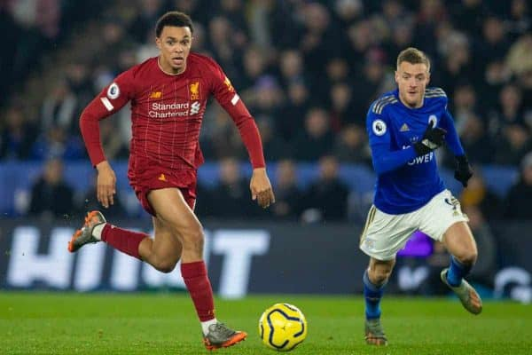 LEICESTER, ENGLAND - Thursday, December 26, 2019: Liverpool's Trent Alexander-Arnold during the FA Premier League match between Leicester City FC and Liverpool FC at the King Power Stadium. (Pic by David Rawcliffe/Propaganda)