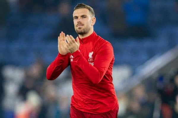 LEICESTER, ENGLAND - Thursday, December 26, 2019: Liverpool's captain Jordan Henderson during the pre-match warm-up before the FA Premier League match between Leicester City FC and Liverpool FC at the King Power Stadium. (Pic by David Rawcliffe/Propaganda)