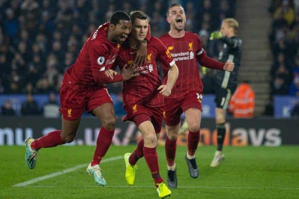 LEICESTER, ENGLAND - Thursday, December 26, 2019: Liverpool's James Milner (C) scores the second goal, from a penalty kick, with team-mate Georginio Wijnaldum (L) and captain Jordan Henderson (R) during the FA Premier League match between Leicester City FC and Liverpool FC at the King Power Stadium. (Pic by David Rawcliffe/Propaganda)