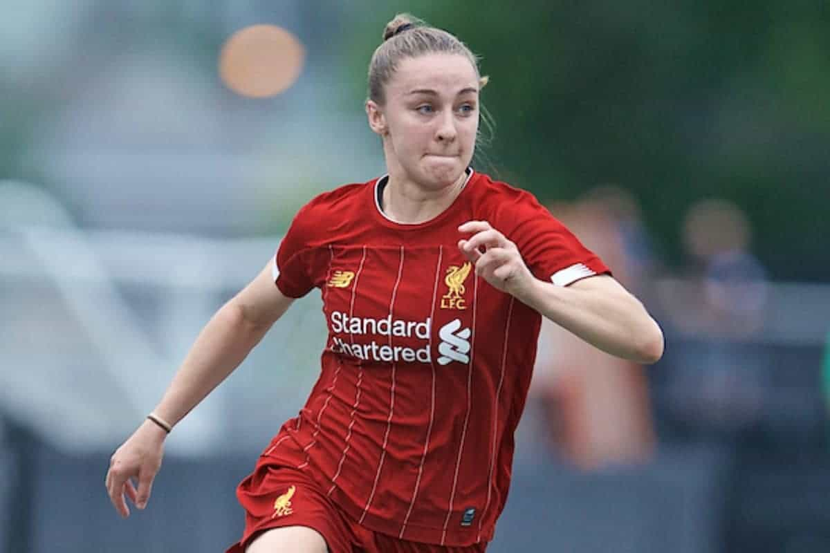 BOSTON, MASSACHUSETTS, USA - Monday, July 22, 2019: Liverpool's Niamh Charles during a friendly match between Liverpool FC Women and Metropolitan Conference All Stars at Jordan Field at the Harvard Stadium on day seven of the club's pre-season tour of America. (Pic by David Rawcliffe/Propaganda)