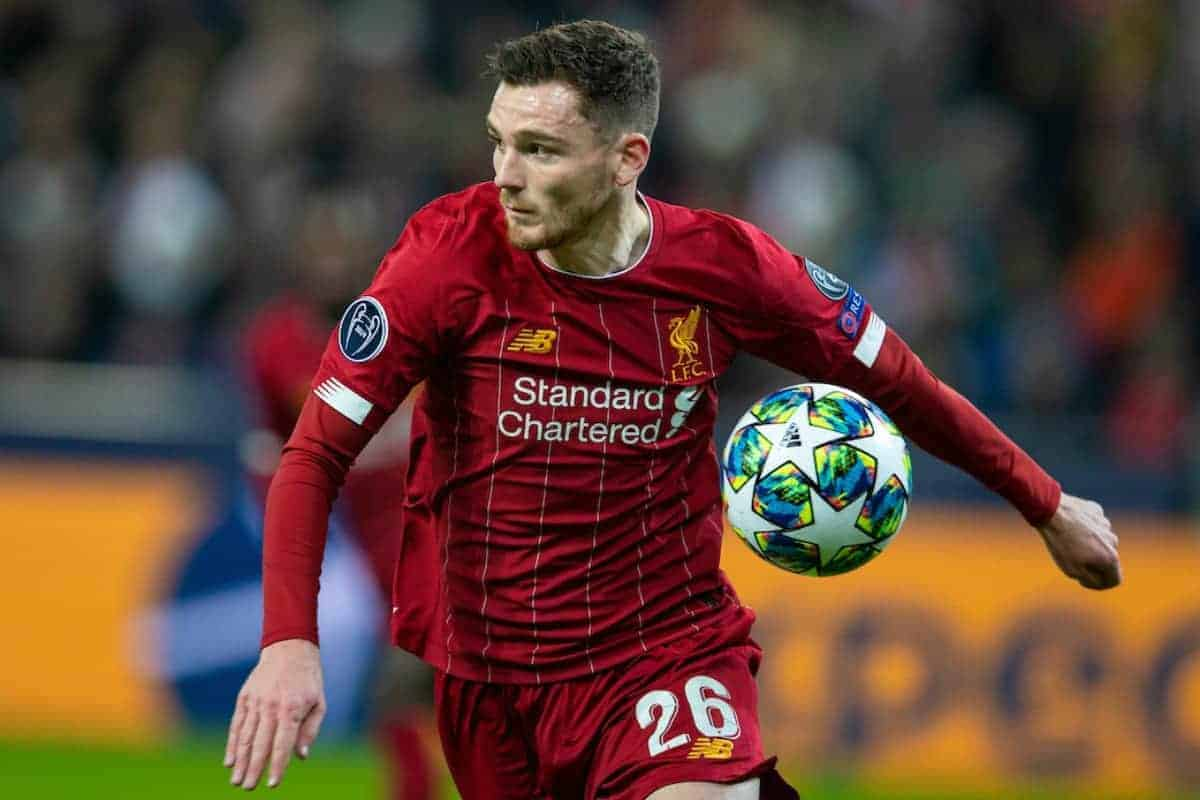 SALZBURG, AUSTRIA - Tuesday, December 10, 2019: Liverpool's Andy Robertson during the final UEFA Champions League Group E match between FC Salzburg and Liverpool FC at the Red Bull Arena. (Pic by David Rawcliffe/Propaganda)