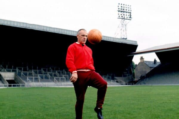 Liverpool manager Bill Shankly shows off his ball skills at Anfield (PA / Alamy Media)