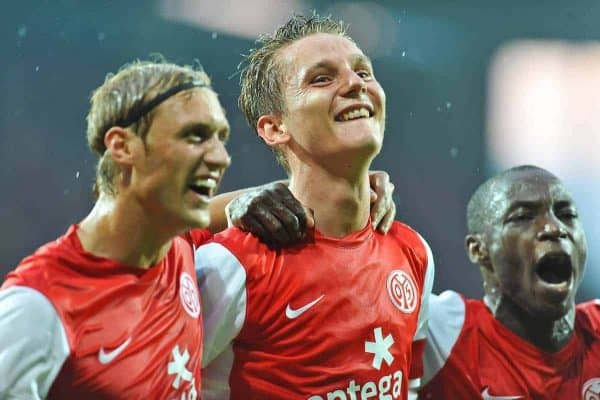 28.07.2011, Coface Arena, Mainz, GER, UEFA Europa League, Mainz 05 vs CS Gaz Metan Medias, im Bild vl. Marcel Risse (Mainz #23), Niko Bungert (Mainz #26) Torschuetze,  und Anthony Ujah // during the GER, UEFA Europa League, Mainz 05 vs CS Gaz Metan Medias on 2011/07/28, Coface Arena, Mainz, Germany. EXPA Pictures © 2011, PhotoCredit: EXPA/ nph/  Roth       ****** out of GER / CRO  / BEL ******