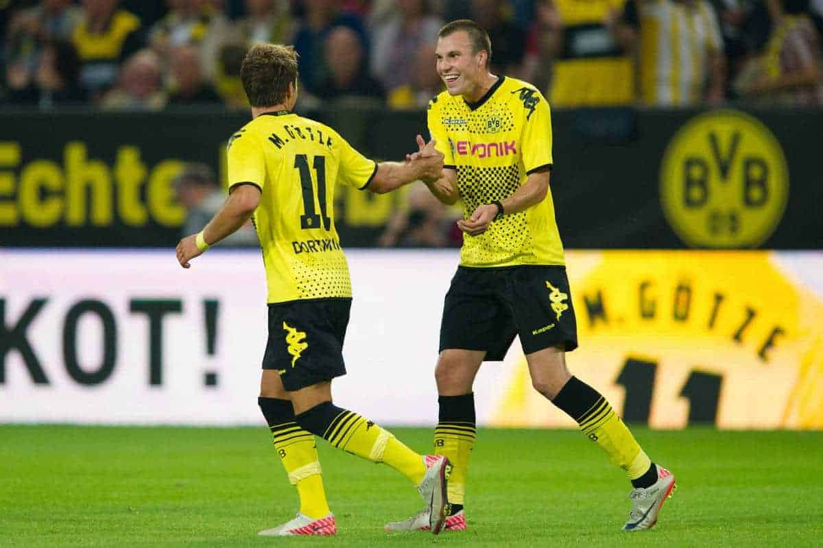 05.08.2011, Signal Iduna Park, Dortmund, GER, 1.FBL, Borussia Dortmund vs Hamburger SV, im Bild Jubel Mario Goetze (#11 Dortmund) und Kevin Grosskreutz (#19 Dortmund) nach dem 2:0 Dortmund // during during the 1.FBL, Borussia Dortmund vs Hamburger SV on 2011/08/05, Signal Iduna Park, Dortmund, Germany. EXPA Pictures © 2011, PhotoCredit: EXPA/ nph/ Kurth ****** out of GER / CRO / BEL ******