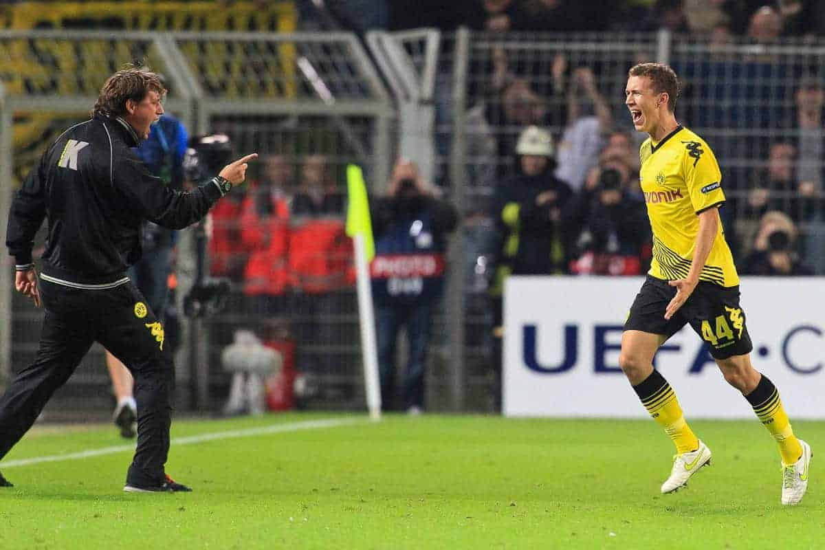 13.09.2011, Signal Iduna Park, Dortmund, GER, UEFA CL, Gruppe F, Borussia Dortmund (GER) vs Arsenal London (ENG), im Bild.Torjubel / Jubel Ivan Perisic (Dortmund #14)..// during the UEFA CL, group F, Borussia Dortmund (GER) vs Arsenal London on 2011/09/13, at Signal Iduna Park, Dortmund, Germany. EXPA Pictures © 2011, PhotoCredit: EXPA/ nph/ Mueller ****** out of GER / CRO / BEL ******
