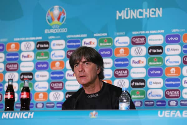 MUNICH, GERMANY - JUNE 14: In this Handout picture provided by UEFA, Joachim Loew, Head Coach of Germany speaks to the media during the Germany Press Conference ahead of the Euro 2020 Group F match between France and Germany at Fussball Arena Muenchen on June 14, 2021 in Munich, Germany. (Photo by UEFA/UEFA via Getty Images)