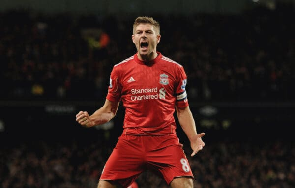 Steven Gerrard of Liverpool celebrates after scoring the opening goal during the Carling Cup Semi-Final first leg match between Manchester City and Liverpool at Etihad Stadium on January 11, 2012 in Manchester, England. (Photo by John Powell/Liverpool FC via Getty Images)