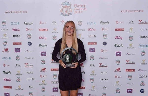 LIVERPOOL, ENGLAND - MAY 09: (THE SUN OUT, THE SUN ON SUNDAY OUT) Sophie Ingle of Liverpool Ladies after winning the Liverpool Ladies FC players' Player of the seaon during the Liverpool FC Player Awards at Anfield on May 9, 2017 in Liverpool, England. (Photo by Andrew Powell/Liverpool FC via Getty Images)