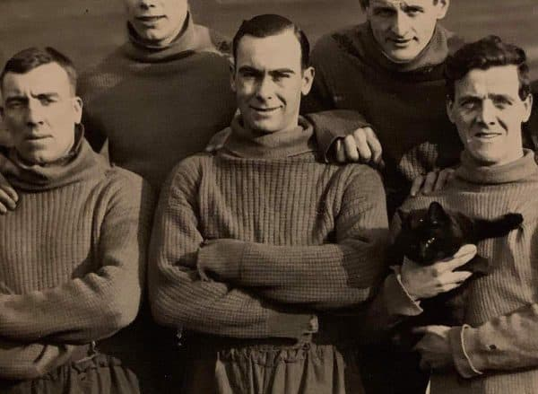 (Please credit within piece: The Bromilow family) Liverpool's Gordon Hodgson, Tom Bromilow and a cat