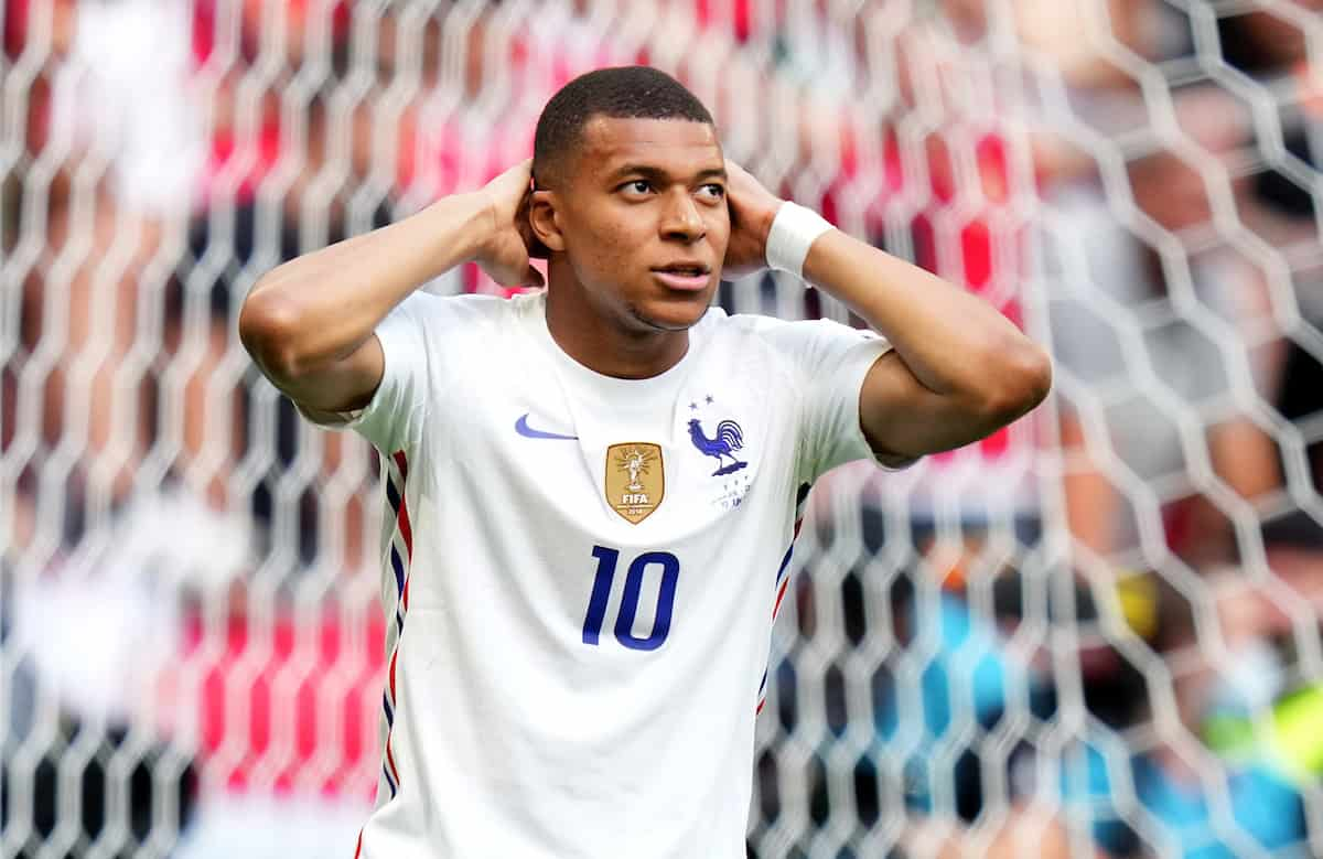 BUDAPEST, HUNGARY - JUNE 19: Kylian Mbappe of France reacts after missing a chance during the UEFA Euro 2020 Championship Group F match between Hungary and France at Puskas Arena on June 19, 2021 in Budapest, Hungary. (Photo by Angel Martinez - UEFA)