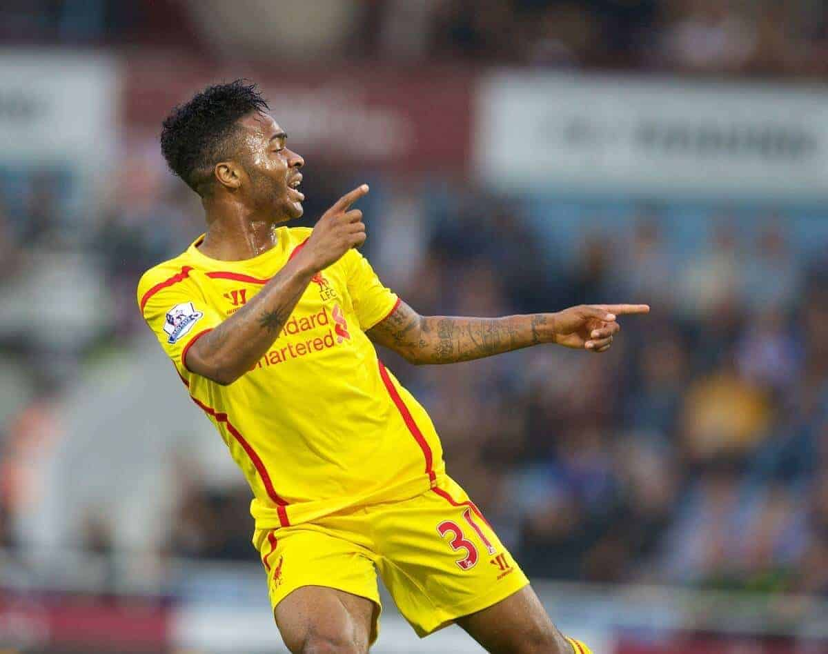 LONDON, ENGLAND - Saturday, September 20, 2014: Liverpool's Raheem Sterling celebrates scoring the first goal against West Ham United during the Premier League match at Upton Park. (Pic by David Rawcliffe/Propaganda)