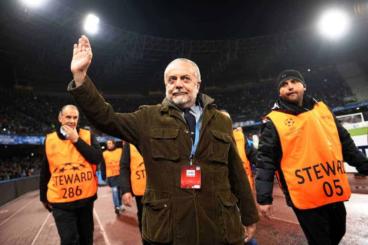 22.11.2011, Stadio San Paolo, Rom, ITA, UEFA CL, Gruppe A, SSC Neapel (ITA) vs Manchester City (ENG), im Bild Il Presidente del Napoli Aurelio DE LAURENTIIS durante il giro di campo per salutare i tifosi, // during the football match of UEFA Champions league, group A, between SSC Neapel (ITA) vs Manchester City (ENG) at San Paolo Stadium, rome, Italy on 22/11/2011. EXPA Pictures © 2011, PhotoCredit: EXPA/ Insidefoto/ Andrea Staccioli..***** ATTENTION - for AUT, SLO, CRO, SRB, SUI and SWE only *****