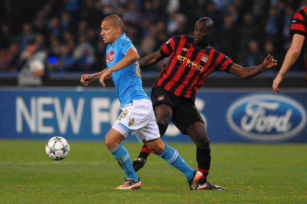 22.11.2011, Stadio San Paolo, Rom, ITA, UEFA CL, Gruppe A, SSC Neapel (ITA) vs Manchester City (ENG), im Bild Gokhan INLER Napoli, Mario BALOTELLI Manchester, // during the football match of UEFA Champions league, group A, between SSC Neapel (ITA) vs Manchester City (ENG) at San Paolo Stadium, rome, Italy on 22/11/2011. EXPA Pictures © 2011, PhotoCredit: EXPA/ Insidefoto/ Andrea Staccioli..***** ATTENTION - for AUT, SLO, CRO, SRB, SUI and SWE only *****