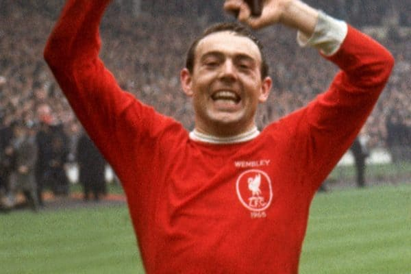 Liverpool's winning goalscorer Ian St John celebrates winning the FA Cup