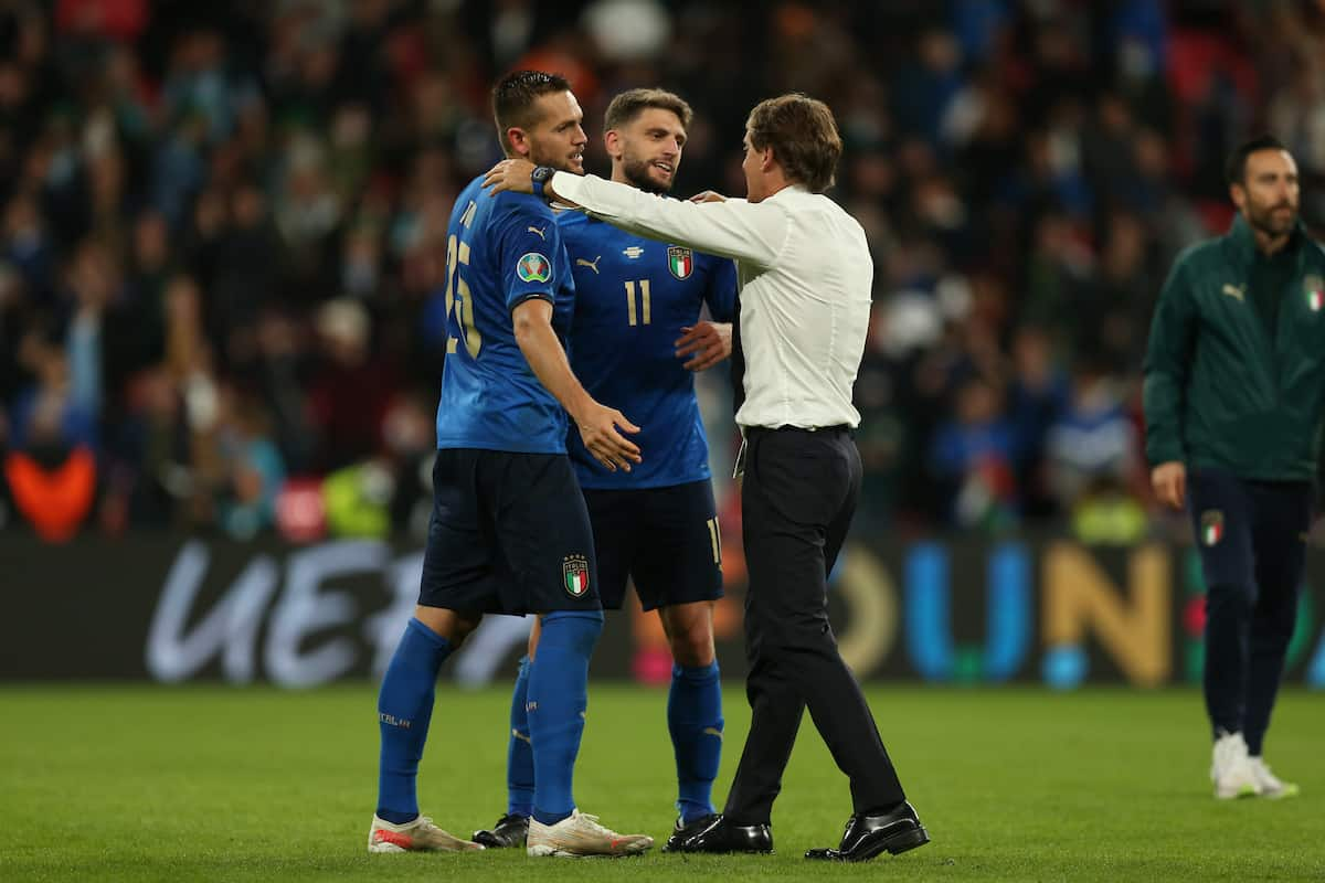 LONDON, ENGLAND - JULY 06: Italy's head coach Roberto Mancini (R) with Rafael Tolo?i (L) and Domenico Berardi during the UEFA Euro 2020 Championship Semi-final match between Italy and Spain at Wembley Stadium on July 06, 2021 in London, England. (Photo by Alex Morton - UEFA)