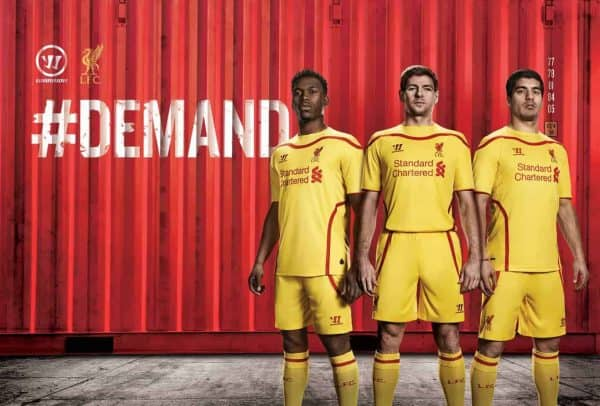 6bf0a762c Liverpool FC have unveiled their new yellow away kit for season 2014 15.