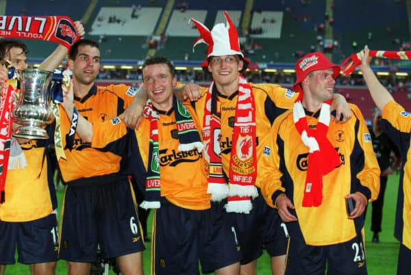 Babbel, Smicer, Hyypia, Carragher (FA Cup Final 2001, Cardiff) PA Media Image