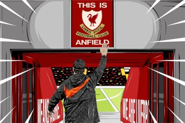Jurgen Klopp, This Is Anfield sign (Image: This Is Anfield)
