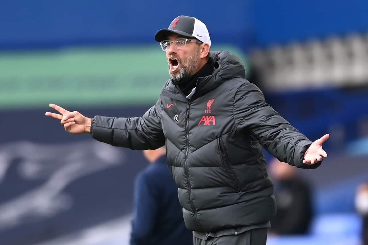 Liverpool manager Jurgen Klopp on the touchline during the Premier League match at Goodison Park, Liverpool.