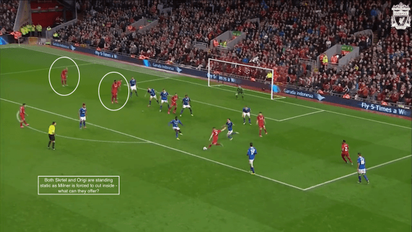 Both Skrtel and Origi are standing static as Milner is forced to cut inside - what can they offer?