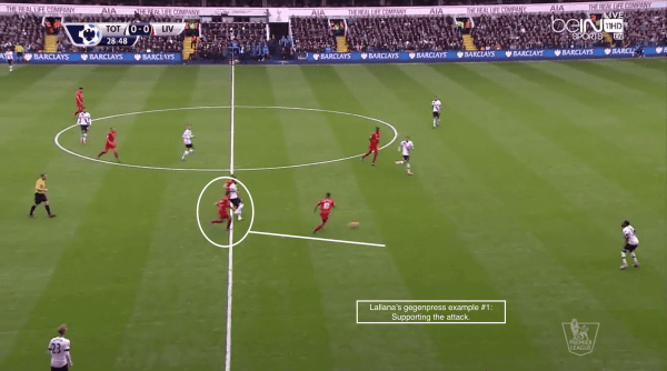 Lallana's gegenpress example #1: Supporting the attack.