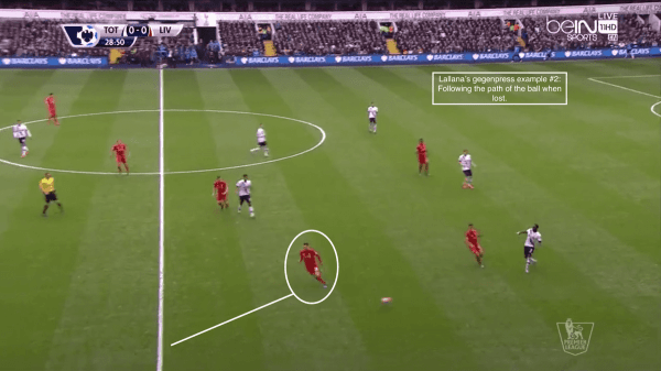 Lallana's gegenpress example #2: Following the path of the ball when lost.
