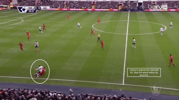 Lallana's gegenpress example #3: Stop the attack within six seconds.