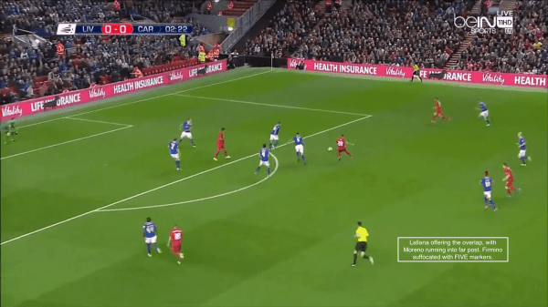 Lallana offering the overlap, with Moreno running to far post. Firmino suffocated with FIVE markers.