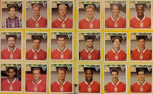 Liverpool 1995-96 team stickers