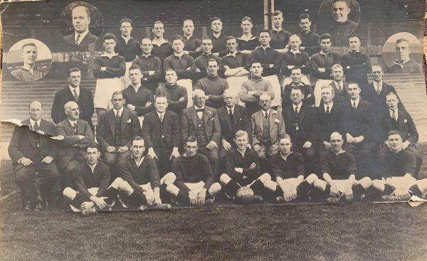(Please credit within piece: The Bromilow family) Gordon Hodgson, Elisha Scott and Tom Bromilow, Liverpool squad photo 1929/30