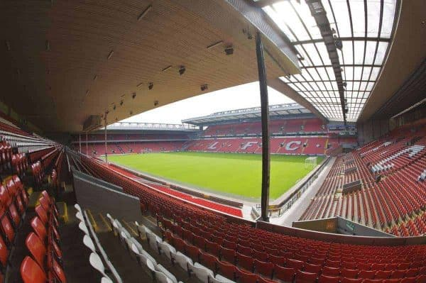 The view of the Anfield pitch from the Main Stand, centre of Block MW.